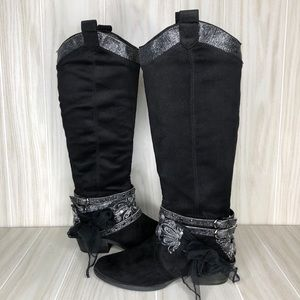 Not Rated Glitter Ribbon Embellished Boots